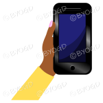 Hand holding a phone with blank screen - Yellow sleeve