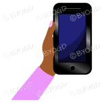 Hand holding a phone with blank screen - Pink sleeve