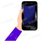 Hand holding a phone with blank screen - Purple sleeve