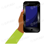 Hand holding a phone with blank screen - Green sleeve