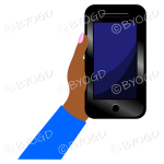 Hand holding a phone with blank screen - Blue sleeve