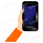 Hand holding a phone with blank screen - Orange sleeve