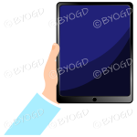 Hand holding smart pad with blank screen - Light Blue sleeve
