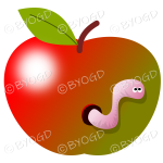Halloween apple with a worm in it.