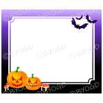 Halloween background spooky pumpkins and bats frame