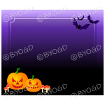 Halloween Background pumpkins and bats dark