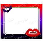 Halloween Background red vampire lips and bats