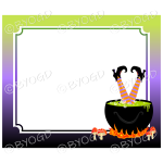 Halloween Background witch in cauldron frame
