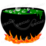 Halloween Cauldron full of scary bubbling Green goo.