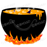Halloween Cauldron full of scary bubbling Orange goo.