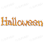 Halloween word in spooky typeface - Orange