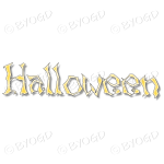 Halloween word in spooky typeface - Pale Yellow