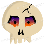Halloween scary skull with glowing eyes.