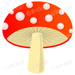 Halloween wide red toadstool mushroom with white spots