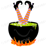 Halloween witch in a cauldron - Green