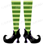 Halloween witch legs green and green stripy socks