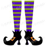 Halloween witch legs green and purple stripy socks