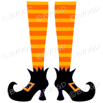 Halloween witch legs orange and orange stripy socks