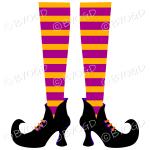 Halloween witch legs orange and pink stripy socks