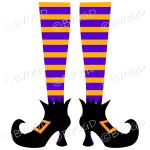 Halloween witch legs orange and purple stripy socks