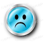 Blue sad smiley face button