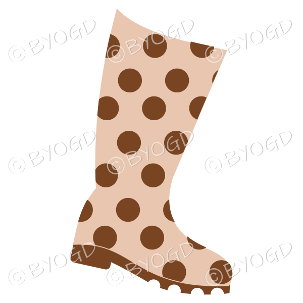 Brown and beige wellington boot for splashing in puddles