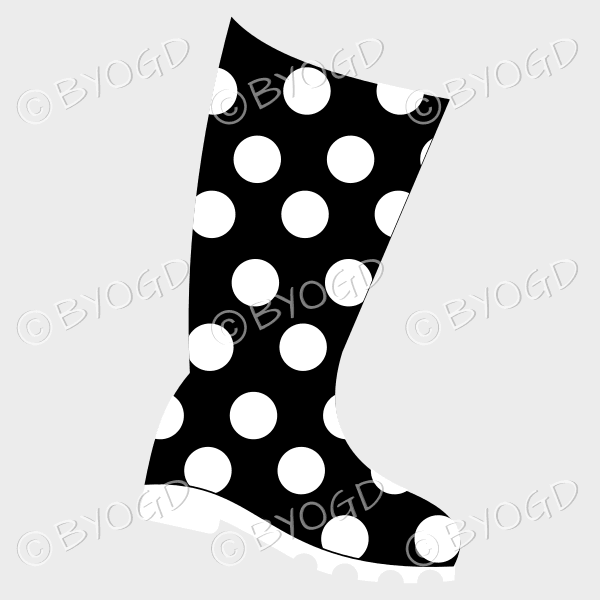 Black and white wellington boot for splashing in puddles