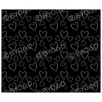 Black hand drawn style hearts background.