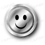 A sliver (black and white) smiley face button.