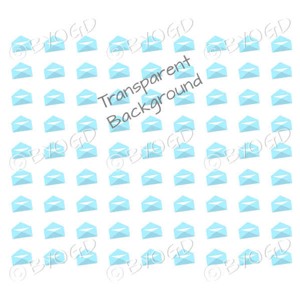 Light Blue mini envelope background on clear