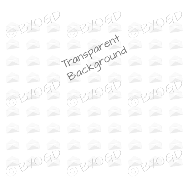 White mini envelope background on clear