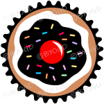 Add a black and white cupcake or muffin - top view