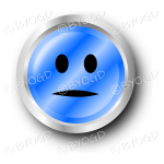 A blue) flat face smiley button.