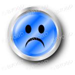 A blue sad smiley face button.