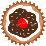 Add a chocolate brown cupcake or muffin - top view to your images.