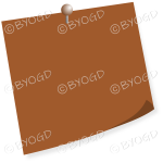 Brown pinned post-it note - add your own message!