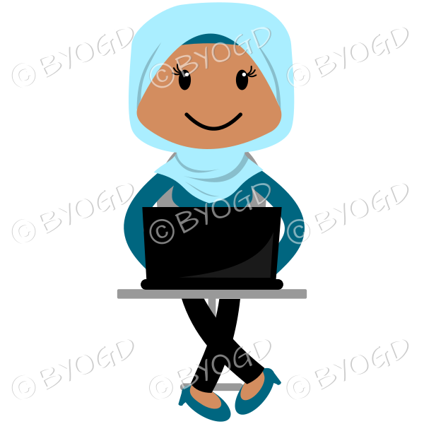 Lady in a light blue hijab headscarf at computer