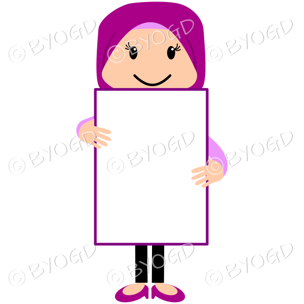 Woman in a pink hijab headscarf holding a blank message board