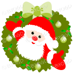 Father Christmas Xmas wreath with green decorations