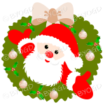 Father Christmas Xmas wreath with beige decorations