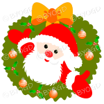 Father Christmas Xmas wreath with orange decorations