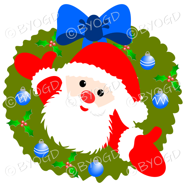 Father Christmas Xmas wreath with blue decorations