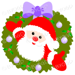 Father Christmas Xmas wreath with purple decorations