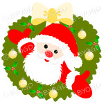 Father Christmas Xmas wreath with yellow decorations