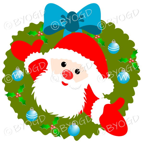 Father Christmas Xmas wreath with light blue decorations