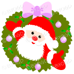 Father Christmas Xmas wreath with pink decorations