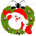Father Christmas Xmas wreath with black and white decorations