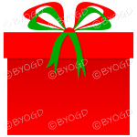 Red and green Christmas present in a square gift box