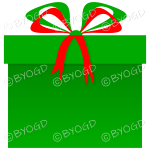 Green and Red Christmas present in a square gift box