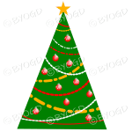 Designer Christmas tree with red and orange decorations.